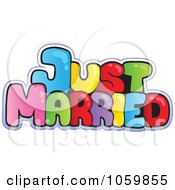 Colorful Just Married Text