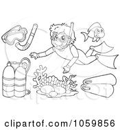 Royalty Free Vector Clip Art Illustration Of A Digital Collage Of Coloring Page Outlines Of Scuba And Snorkel Gear