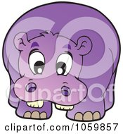 Royalty Free Vector Clip Art Illustration Of A Purple Hippo
