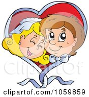 Royalty Free Vector Clip Art Illustration Of A Wedding Couple In A Ribbon Heart