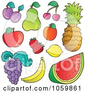 Royalty Free Vector Clip Art Illustration Of A Digital Collage Of Fruit by visekart
