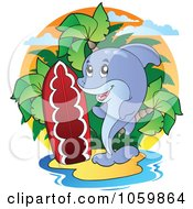 Royalty Free Vector Clip Art Illustration Of A Dolphin On A Tropical Island With A Surfboard by visekart