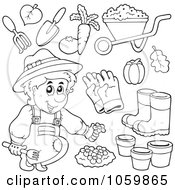 Digital Collage Of Coloring Page Outlines Of Gardening Items