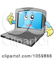 Royalty Free Vector Clip Art Illustration Of A Smart Laptop Character by visekart