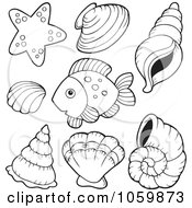 Royalty Free Vector Clip Art Illustration Of A Digital Collage Of Coloring Page Outlines Of Shells And A Fish