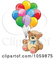 Royalty Free Vector Clip Art Illustration Of A Teddy Bear With Balloons by visekart