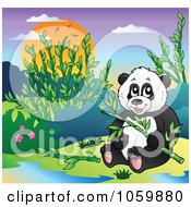 Royalty Free Vector Clip Art Illustration Of A Panda Bear Holding Bamboo In The Wild by visekart