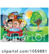 Family Driving Down A Country Road
