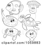 Royalty Free Vector Clip Art Illustration Of A Digital Collage Of Coloring Page Outlines Of Sea Animals by visekart
