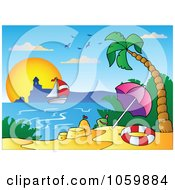 Royalty Free Vector Clip Art Illustration Of A Tropical Beach With A Sand Castle Sailboat And Lighthouse