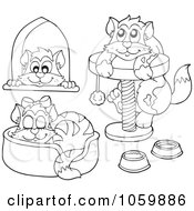Royalty Free Vector Clip Art Illustration Of A Digital Collage Of Coloring Page Outlines Of Cats