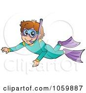 Royalty Free Vector Clip Art Illustration Of A Snorkeler by visekart