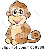 Royalty Free Vector Clip Art Illustration Of A Cute Monkey by visekart #COLLC1059889-0161