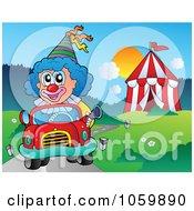 Clown Driving A Car By A Big Top