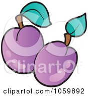 Royalty Free Vector Clip Art Illustration Of Two Plums by visekart