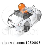 Royalty Free Vector Clip Art Illustration Of An Orange Man Driving A Convertible Car by Leo Blanchette