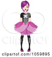 Royalty Free Vector Clip Art Illustration Of A Punky Styled Teenage Girl Wearing A Skirt And Skull Shirt by Pushkin