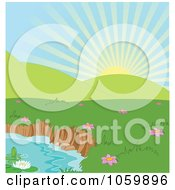 Royalty Free Vector Clip Art Illustration Of A Spring Time Landscape Background With Hills And A Pond by Pushkin