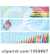 Royalty Free Vector Clip Art Illustration Of A Digital Collage Of Crayon Book And Colored Pencil School Website Banners