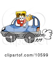 Paint Brush Mascot Cartoon Character Driving A Blue Car And Waving