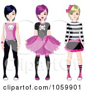 Royalty Free Vector Clip Art Illustration Of A Digital Collage Of Three Teen Punk Girls by Pushkin