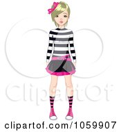 Royalty Free Vector Clip Art Illustration Of A Punky Styled Teenage Girl Wearing A Skirt And Stirped Shirt by Pushkin