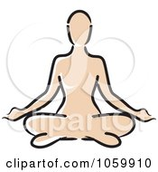 Royalty Free Vector Clip Art Illustration Of An Outlined Caucasian Woman Meditating