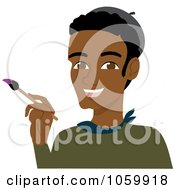 Royalty Free Vector Clip Art Illustration Of A Black Male Artist Holding A Paintbrush