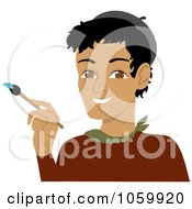 Royalty Free Vector Clip Art Illustration Of A Hispanic Male Artist Holding A Paintbrush
