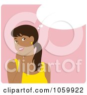 Royalty Free Vector Clip Art Illustration Of A Happy Young Hispanic Woman In Thought