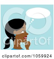 Royalty Free Vector Clip Art Illustration Of A Black Woman In Thought