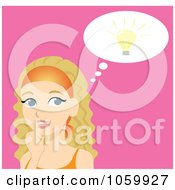 Royalty Free Vector Clip Art Illustration Of A Blond Woman Thinking