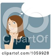 Royalty Free Vector Clip Art Illustration Of A Happy Young Brunette Woman In Thought by Rosie Piter