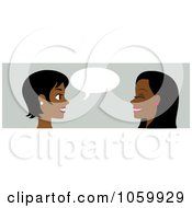 Royalty Free Vector Clip Art Illustration Of A Banner Of Two Black Women Talking by Rosie Piter #COLLC1059929-0023