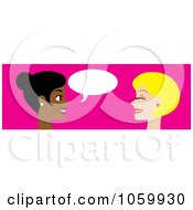 Royalty Free Vector Clip Art Illustration Of A Banner Of Two Women Talking