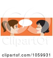 Royalty Free Vector Clip Art Illustration Of A Banner Of Two Caucasian Women Talking
