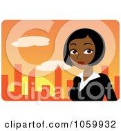 Black Businesswoman Against An Orange Skyline