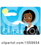 Royalty Free Vector Clip Art Illustration Of A Black Businesswoman Against A Blue Skyline by Rosie Piter