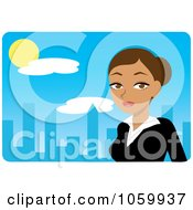 Royalty Free Vector Clip Art Illustration Of A Hispanic Urban Businesswoman Against A Blue Skyline
