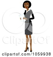 Royalty Free Vector Clip Art Illustration Of A Black Businesswoman Holding Papers by Rosie Piter