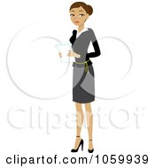 Royalty Free Vector Clip Art Illustration Of A Hispanic Businesswoman Holding Papers