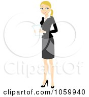 Blond Businesswoman Holding Papers