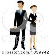 Royalty Free Vector Clip Art Illustration Of A Hispanic Business Man And Woman