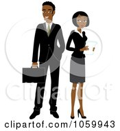 Royalty Free Vector Clip Art Illustration Of A Black Business Man And Woman by Rosie Piter #COLLC1059943-0023