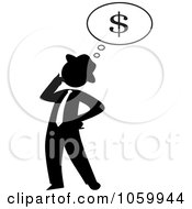 Royalty Free Vector Clip Art Illustration Of A Black Silhouetted Businessman Thinking Of Finances by Rosie Piter