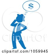 Royalty Free Vector Clip Art Illustration Of A Blue Silhouetted Businessman Thinking Of Finances by Rosie Piter