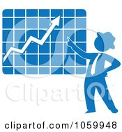 Royalty Free Vector Clip Art Illustration Of A Blue Silhouetted Businessman Discussing A Growth Chart by Rosie Piter