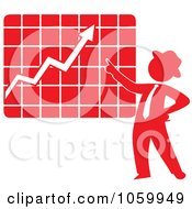 Royalty Free Vector Clip Art Illustration Of A Red Silhouetted Businessman Discussing A Growth Chart by Rosie Piter
