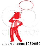 Royalty Free Vector Clip Art Illustration Of A Red Silhouetted Businessman Thinking by Rosie Piter