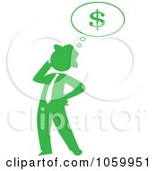 Green Silhouetted Businessman Thinking Of Finances